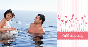 Sammansatt bild av gulliga valentinpar Arkivfoto