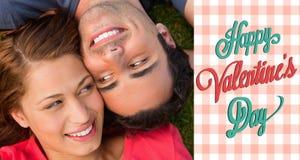 Sammansatt bild av gulliga valentinpar Royaltyfri Fotografi
