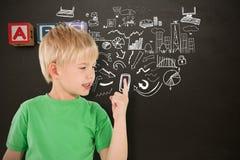 Sammansatt bild av gulligt peka för pojke Royaltyfria Foton