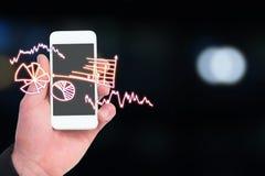 Sammansatt bild av handen av smarta telefoner 3d för affärsmaninnehav Arkivfoto