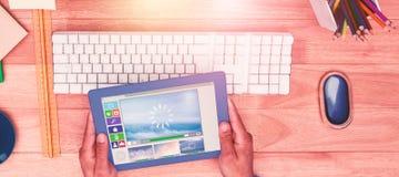 Sammansatt bild av illustrationen av olika video- och datorsymboler Fotografering för Bildbyråer