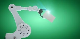 Sammansatt bild av illustrationen av plakatet 3d för robothandinnehav Arkivbild