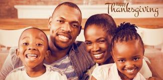 Sammansatt bild av illustrationen av den lyckliga hälsningen för tacksägelsedagtext Fotografering för Bildbyråer