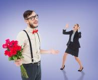 Sammansatt bild av ilsket göra en gest för affärskvinna Royaltyfri Foto