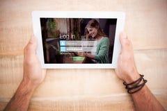 Sammansatt bild av inloggningsskärmen med att le kvinnan med blocket och kaffe fotografering för bildbyråer