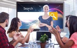 Sammansatt bild av kollegor som applåderar händer i ett möte Fotografering för Bildbyråer
