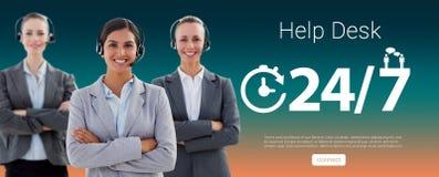 Sammansatt bild av korsade bärande hörlurar med mikrofon för affärslag och anseendearmar royaltyfri fotografi