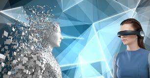 Sammansatt bild av kvinnan som använder virtuell verklighet 3d arkivfoto