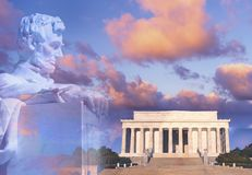 Sammansatt bild av Lincoln Memorial och statyn av Abraham Lincoln Fotografering för Bildbyråer