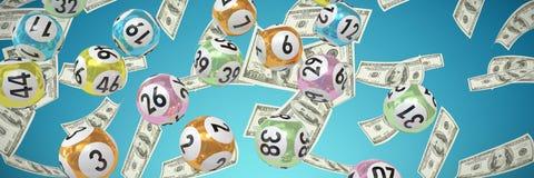 Sammansatt bild av lotteribollar med nimbers stock illustrationer