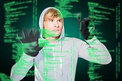 Sammansatt bild av mannen med svarta handskar som slår exponeringsglas Arkivbilder