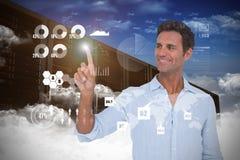 Sammansatt bild av mannen som pekar på något på vit bakgrund Royaltyfria Foton
