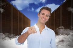 Sammansatt bild av mannen som pekar på något på vit bakgrund Arkivbild
