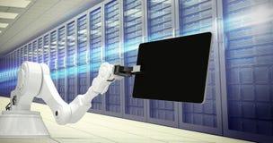 Sammansatt bild av maskinen och den digitala minnestavlan mot vit bakgrund 3d Royaltyfria Bilder