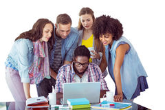 Sammansatt bild av modestudenter som arbetar som ett lag Arkivfoton