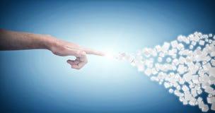 Sammansatt bild av närbilden av den kantjusterade handen som pekar på vit bakgrund 3d Fotografering för Bildbyråer