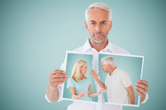 Sammansatt bild av olyckliga par som har ett argument Fotografering för Bildbyråer