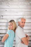 Sammansatt bild av olyckliga par som inte till varandra talar Royaltyfri Foto