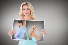Sammansatt bild av olyckliga par som inte till varandra talar Royaltyfri Fotografi