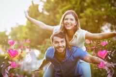 Sammansatt bild av par- och valentinhjärtor 3d Arkivbild