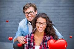 Sammansatt bild av par- och valentinhjärtor 3d Arkivfoto