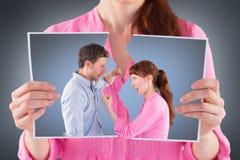 Sammansatt bild av par som argumenterar med de Royaltyfria Foton