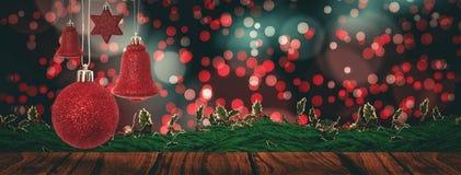 Sammansatt bild av rött hänga för garnering för julklocka stock illustrationer