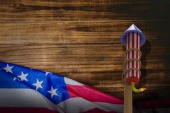 Sammansatt bild av raket 3D för fyrverkerier Royaltyfria Foton