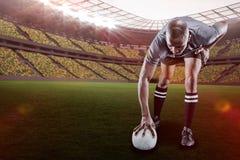 Sammansatt bild av rugbyspelaren som tar position med 3d Arkivbild