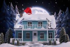 Sammansatt bild av Santa Claus som mycket bär den röda påsen av gåvor Arkivbilder