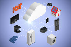 Sammansatt bild av sikten för hög vinkel av symboler och molnet 3d Arkivbild