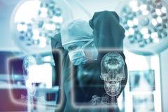 Sammansatt bild av skalle- och hjärndiagrammet på svart 3d Arkivfoto