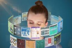 Sammansatt bild av slutet upp av den härliga kvinnan som mediterar 3d Arkivfoto