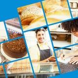 Sammansatt bild av slutet upp av läckra bröd som bakas nytt Fotografering för Bildbyråer