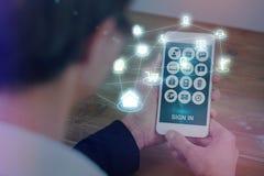 Sammansatt bild av smartphoneappssymboler 3d Arkivfoto