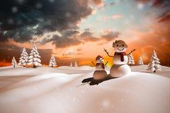 Sammansatt bild av snöfamiljen Royaltyfria Bilder