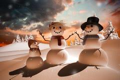 Sammansatt bild av snöfamiljen Fotografering för Bildbyråer