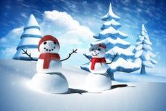 Sammansatt bild av snömanfamiljen Fotografering för Bildbyråer