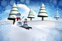 Sammansatt bild av snömanfamiljen Arkivbilder