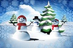 Sammansatt bild av snömanfamiljen Arkivbild