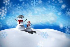Sammansatt bild av snömanfamiljen Royaltyfri Foto