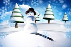Sammansatt bild av snömannen Arkivfoto