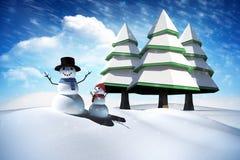 Sammansatt bild av snömannen Royaltyfri Fotografi