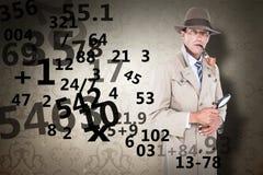 Sammansatt bild av spionen som ser till och med förstoringsapparaten Arkivbild