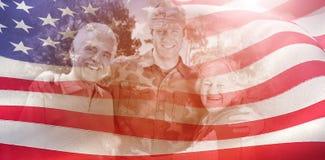 Sammansatt bild av ståenden av armémannen med föräldrar fotografering för bildbyråer