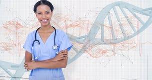 Sammansatt bild av ståenden av att le den kvinnliga kirurgen Royaltyfri Bild