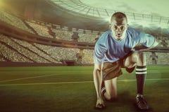 Sammansatt bild av ståenden av den säkra idrottsmannen som knäfaller med 3d Royaltyfri Foto