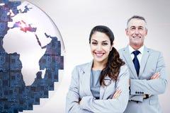 Sammansatt bild av ståenden av lyckligt affärsfolk som tillsammans står arkivbild