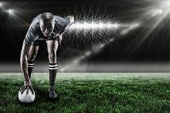 Sammansatt bild av ståenden av rugbyspelaren som ler 3d Royaltyfria Foton