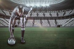 Sammansatt bild av ståenden av rugbyspelaren som ler med 3d Royaltyfri Bild